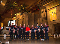 Mar 28, 2014; Las Vegas, NV, USA; The Capco NHRA top fuel dragster driver Steve Torrence (in red) poses with his team at the Luxor Hotel and Casino prior to qualifying for the Summitracing.com Nationals at The Strip at Las Vegas Motor Speedway. Mandatory Credit: Mark J. Rebilas-