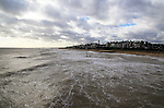 Grey sky and sea in winter,  Southwold, Suffolk, England, UK