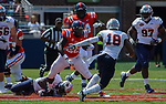 D'Vaughn Pennamon tries to get through UT Martin's defense during the game on Sat., Sept. 9, 2017. Ole Miss wins 45-23. Photo by Marlee Crawford/Ole Miss Communications