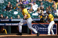 Luke Mann (16) of the Missouri Tigers follows through on his swing against the Oklahoma Sooners in game four of the 2020 Shriners Hospitals for Children College Classic at Minute Maid Park on February 29, 2020 in Houston, Texas. The Tigers defeated the Sooners 8-7. (Brian Westerholt/Four Seam Images)