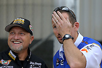 May 11, 2013; Commerce, GA, USA: NHRA funny car driver Jack Beckman (right) alongside Jeff Arend during the Southern Nationals at Atlanta Dragway. Mandatory Credit: Mark J. Rebilas-