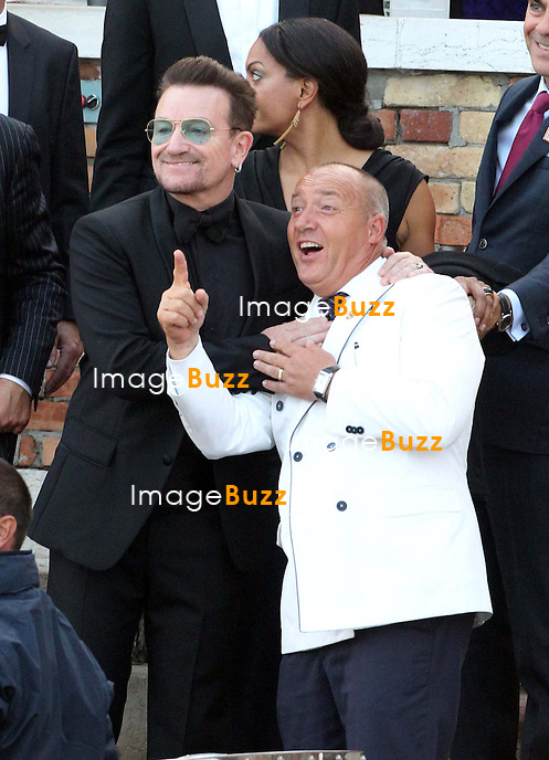 Bono - GEORGE CLOONEY &amp; AMAL ALAMUDDIN WEDDING CEREMONY AT THE AMAN RESORTS HOTEL IN VENICE - <br /> George Clooney &amp; British fiancee Amal Alamuddin and guests on taxi boat on the Grand Canal on their way to the seven-star Aman Hotel for the wedding celebrations.<br /> Robert De Niro, Matt Damon, Brad Pitt and Cate Blanchett were among the other stars, like Cindy Crawford, Rande Geber, Bill Murray, Emily Blunt.<br /> Italy, Venice, 27 September, 2014.