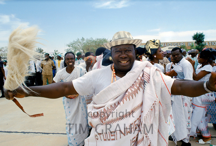 Nigerian men attending tribal gathering durbar cultural event at Maiduguri in Nigeria, West Africa