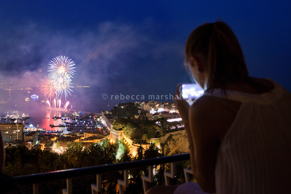 View from Le Jardin Exotique of the International Musical Fireworks Competition (Canada's entry) in Port Hercule, Monaco, 6 July 2013. Le Rocher (the Rock) and Prince's Palace can be seen on the right.