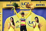 Race leader Greg Van Avermaet (BEL) BMC racing Team retains the Yellow Jersey at the end of Stage 8 of the 2018 Tour de France running 181km from Dreux to Amiens Metropole, France. 14th July 2018. <br /> Picture: ASO/Alex Broadway | Cyclefile<br /> All photos usage must carry mandatory copyright credit (&copy; Cyclefile | ASO/Alex Broadway)