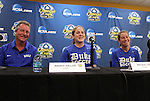 03 December 2011: Duke head coach Robbie Church (left), Maddy Haller (center), and Nicole Lipp (right). The Duke University Blue Devils held a press conference at KSU Soccer Stadium in Kennesaw, Georgia the day before playing Stanford in the NCAA Division I Women's Soccer College Cup championship game.