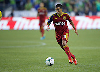 Javier Morales of Real Salt Lake dribbles the ball during play against Seattle Sounders FC at CenturyLink Field in Seattle Friday September 13, 2013. The Sounders won the match 2-0.