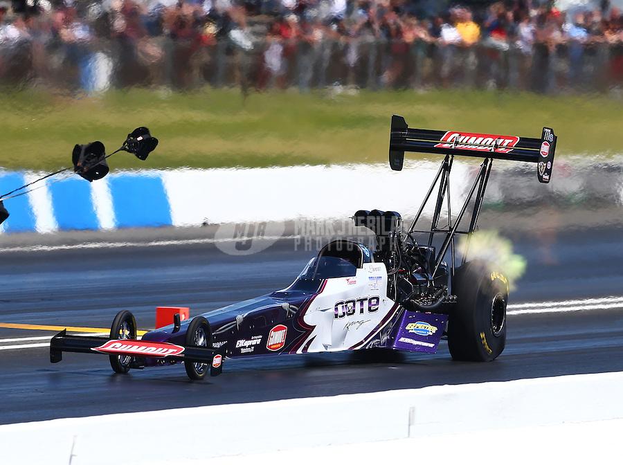 Jun. 1, 2014; Englishtown, NJ, USA; NHRA top fuel driver Leah Pritchett during the Summernationals at Raceway Park. Mandatory Credit: Mark J. Rebilas-