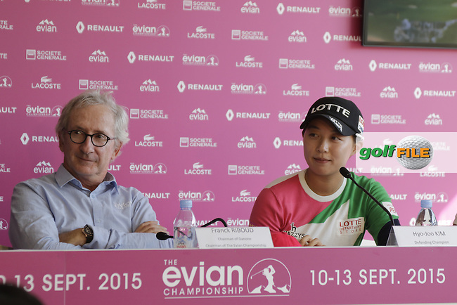 Franck Riboud CEO Danone Evian with defending Champion Hyo-Joo Kim (KOR) at the opening press conference during Wednesday's Pro-Am of the LPGA 2015 Evian Championship, Evian les Bains, France. 09/09/2015.<br /> Picture Eoin Clarke | Golffile