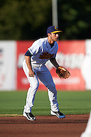 Burlington Bees shortstop David Fletcher (14) during a game against the Clinton LumberKings on August 20, 2015 at Community Field in Burlington, Iowa.  Burlington defeated Clinton 3-2.  (Mike Janes/Four Seam Images)