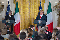 Washington DC, April 20, 2017, USA:  President Donald J Trump and Italian Prime Minister Paolo Gentiloni hold a joint press conference in the East Room of the White House . Photo by Patsy Lynch/MediaPunch