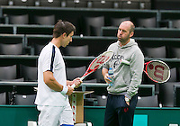 09-02-2014, Netherlands,Rotterdam,Ahoy, ABNAMROWTT, Igor Sijsling (NED) with his coach Michel Koning (NED) <br /> Photo:Tennisimages/Henk Koster