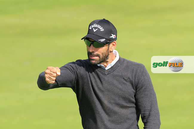 Alvero Quiros (ESP) gets a birdie on the 7th green during Round 1 of the 2015 KLM Open at the Kennemer Golf &amp; Country Club in The Netherlands on 10/09/15.<br /> Picture: Thos Caffrey | Golffile