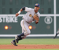 Shortstop Kelvin Castro (29) of the Charleston RiverDogs in a game against the Greenville Drive on Aug. 24, 2010, at Fluor Field at the West End in Greenville, S.C. Photo by: Tom Priddy/Four Seam Images