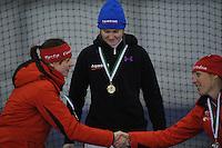 SCHAATSEN: GRONINGEN: Sportcentrum Kardinge, 03-02-2013, Seizoen 2012-2013, Gruno Bokaal, podium 1500m Dames, Marije Joling, Lotte van Beek, Jorien Voorhuis, ©foto Martin de Jong