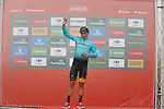 Miguel Angel Lopez Moreno (COL) Astana on the podium at the end of Stage 17 of the 2017 La Vuelta, running 180.5km from Villadiego to Los Machucos. Monumento Vaca Pasiega, Spain. 6th September 2017.<br /> Picture: Unipublic/&copy;photogomezsport | Cyclefile<br /> <br /> <br /> All photos usage must carry mandatory copyright credit (&copy; Cyclefile | Unipublic/&copy;photogomezsport)