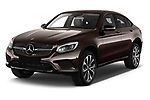 2018 Mercedes Benz GLC Coupe 350 e 5 Door SUV angular front stock photos of front three quarter view