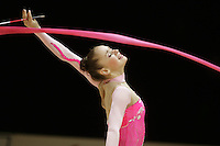 Marina Shpekt of Russia expresses with ribbon during All-Around competition at 2006 Thiais Grand Prix in Paris, France on March 25, 2006.  (Photo by Tom Theobald)