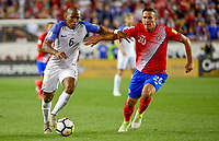 Harrison, N.J. - Friday September 01, 2017:  Darlington Nagbe, David Guzmán during a 2017 FIFA World Cup Qualifying (WCQ) round match between the men's national teams of the United States (USA) and Costa Rica (CRC) at Red Bull Arena.