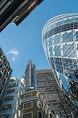 The Gherkin (30 St Mary Axe) and The Cheesegrater (The Leadenhall Building) in the City of London.