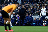 1st March 2020; Tottenham Hotspur Stadium, London, England; English Premier League Football, Tottenham Hotspur versus Wolverhampton Wanderers; Tottenham Hotspur Manager Jose Mourinho on the touch line as he prepares to bring on Troy Parrott late in the game