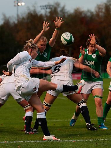 13.11.2016. UCD Bowl, Dublin, Ireland. November Series. Ireland Women versus England.<br /> Natasha Hunt (England) kicks to clear the line.