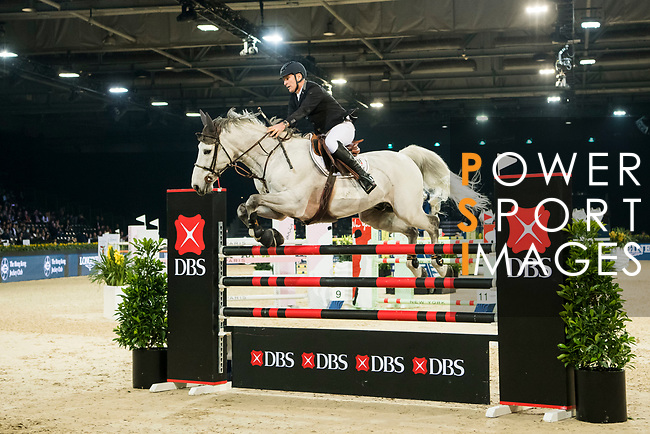 Roger Yves Bost of France riding Pegase du Murier competes in the Longines Speed Challenge during the Longines Masters of Hong Kong at AsiaWorld-Expo on 10 February 2018, in Hong Kong, Hong Kong. Photo by Diego Gonzalez / Power Sport Images