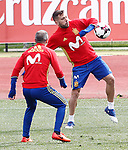 Spain's Jordi Alba (r) and Andres Iniesta during training session. March 22,2017.(ALTERPHOTOS/Acero)