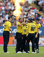 Birmingham Bears' Olly Stone celebrates with his teammates after taking the wicket of Glamorgan's Kiran Carlson<br /> <br /> Photographer Andrew Kearns/CameraSport<br /> <br /> NatWest T20 Blast Semi-Final - Birmingham Bears v Glamorgan - Saturday 2nd September 2017 - Edgbaston, Birmingham<br /> <br /> World Copyright &copy; 2017 CameraSport. All rights reserved. 43 Linden Ave. Countesthorpe. Leicester. England. LE8 5PG - Tel: +44 (0) 116 277 4147 - admin@camerasport.com - www.camerasport.com