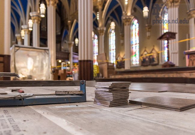 Jan. 3, 2014; Work in progress on replacing the floor in the Basilica of the Sacred Heart.<br /> <br /> Photo by Matt Cashore/University of Notre Dame