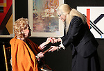 Tammy Grimes and Roberta Wallach on stage at the '12th Annual Love N' Courage' celebrating David Amram and Tammy Grimes at The National Arts Club on March 2,, 2015 in New York City.