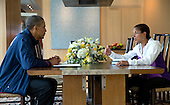 National Security Advisor Susan E. Rice briefs United States President Barack Obama during his Presidential Daily Briefing in Chilmark, Massachusetts, Monday, August 12, 2013. <br /> Mandatory Credit: Pete Souza - White House via CNP