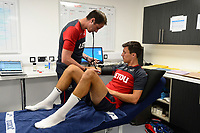 Swansea City's Jack Cork in the treatment room on his first day back for pre season.
