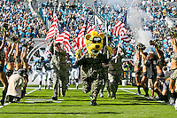 November 27, 2011:  Jacksonville Jaguars mascot Jaxson De Ville leads the Jaguars on the field prior to the start of first half action between the Jacksonville Jaguars and the Houston Texans played at EverBank Field in Jacksonville, Florida.  ........