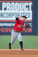 Indianapolis Indians third baseman Brent Morel (5) makes a throw to first base against the Charlotte Knights at BB&T BallPark on June 20, 2015 in Charlotte, North Carolina.  The Knights defeated the Indians 6-5 in 12 innings.  (Brian Westerholt/Four Seam Images)
