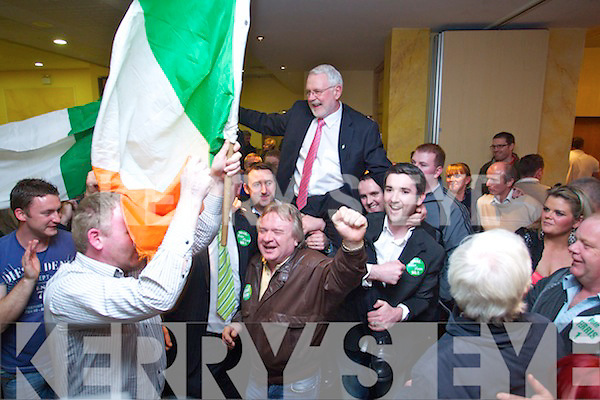 at the North Kerry, West Limerick Election 2011 count at the Brandon Hotel Tralee on Saturday.Martin Ferris celebrates at the North Kerry, West Limerick Election 2011 count at the Brandon Hotel Tralee on Saturday.