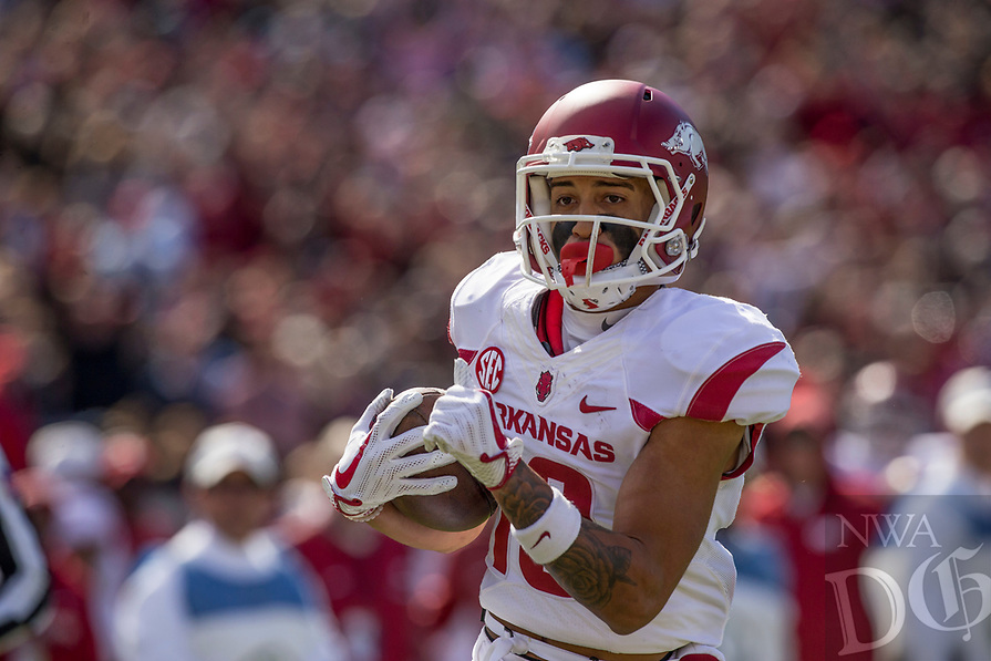 Hawgs Illustrated/BEN GOFF <br /> Deon Stewart, Arkansas wide receiver, runs in a touchdown in the second quarter against Ole Miss Saturday, Oct. 28, 2017, at Vaught-Hemingway Stadium in Oxford, Miss.