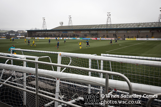 Forfar Athletic 1 Edinburgh City 2, 02/02/2017. Station Park, SPFL League 2. First-half action viewed from behind sets of training goals at Station Park, Forfar during the SPFL League 2 fixture between Forfar Athletic and Edinburgh City (yellow). It was the club's sixth and final meeting of City's inaugural season since promotion from the Lowland League the previous season. City came from behind to win this match 2-1, watched by a crowd of 446. Photo by Colin McPherson.