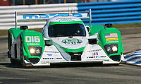 The #16 Mazda Lola of  Chris Dyson, Greg Smith and Jay Cochran races through a turn during qualifying for the 12 Hours of Sebring, Sebring International Raceway, Sebring, FL, March 18, 2011.  (Photo by Brian Cleary/www.bcpix.com)