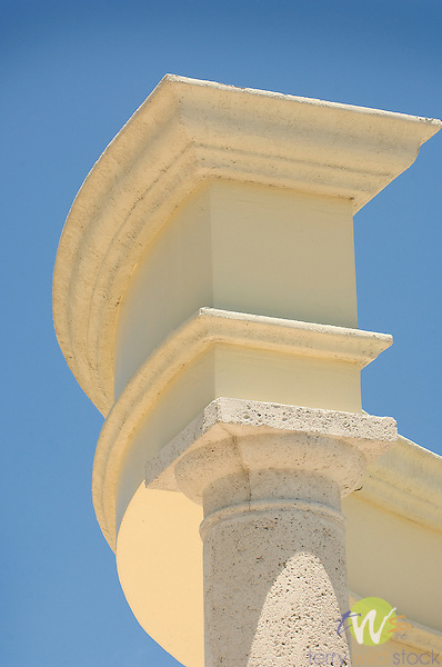 Sandals Royal Bahamian Resort. Architectural column study against blue sky.