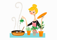 Woman adding fresh herbs to pan