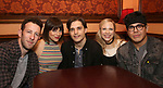 "Nick Blaemire, Krista Rodriguez, Andy Mientus, Lauren Marcus and George Salazar from the cast of ""The Jonathan Larson Project"" during the press preview on October 3, 2018 at Feinstein's/54 Below in New York City."