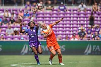 Orlando, FL - Saturday June 24, 2017: Jasmyne Spencer, Janine van Wyk during a regular season National Women's Soccer League (NWSL) match between the Orlando Pride and the Houston Dash at Orlando City Stadium.
