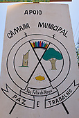 "Pará State, Brazil. São Félix do Xingu. Logo of the town; rubber tapping, forests, gold and Indians with motto ""Paz e Trabalho"" (Peace and Work)."