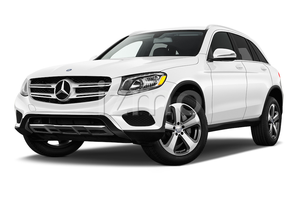 Stock pictures of low aggressive front three quarter view of 2016 Mercedes Benz GLC-Class GLC300 5 Door SUV Low Aggressive