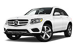 Stock pictures of low aggressive front three quarter view of 2018 Mercedes Benz GLC-Class GLC300 5 Door SUV Low Aggressive