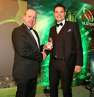 Thursday 10th May 2018 | Ulster Rugby Awards 2018<br /> <br /> Stephen Warnock, Kerr&rsquo;s Tyres presents the Kerr&rsquo;s Tyres Referee of the Year to Chris Busby, during the 2018 Heineken Ulster Rugby Awards at La Mom Hotel, Belfast. Photo by John Dickson / DICKSONDIGITAL