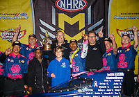 Oct 2, 2016; Mohnton, PA, USA; NHRA top fuel driver Antron Brown celebrates with crew after winning the Dodge Nationals at Maple Grove Raceway. Mandatory Credit: Mark J. Rebilas-USA TODAY Sports