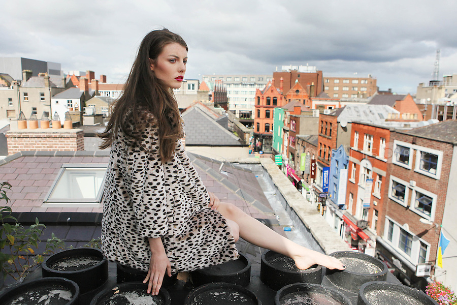 5/8/2010. BT2 AUTUMN WINTER COLLECTION. Model Jennifer Foley is pictured wearing a Lispey Jacket 125 EURO and Lipsey Dress 72 EURO on the roof top of the BT2 corporate offices in Dublin at the preview of the BT2 Autumn winter collection. Picture James Horan/Collins