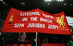 Liverpool fans hold up a banner during the Champions League Quarter Final 1st Leg, match at Anfield Stadium, Liverpool. Picture date: 4th April 2018. Picture credit should read: Simon Bellis/Sportimage